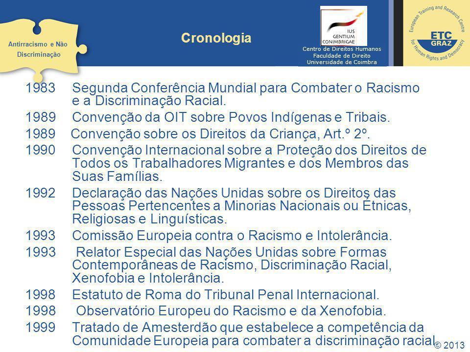 1983 Segunda Conferência Mundial para Combater o Racismo e a Discriminação Racial. 1989Convenção da OIT sobre Povos Indígenas e Tribais. 1989 Convençã