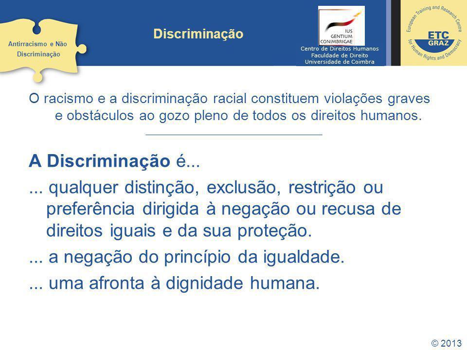 © 2013 Discriminação O racismo e a discriminação racial constituem violações graves e obstáculos ao gozo pleno de todos os direitos humanos. A Discrim