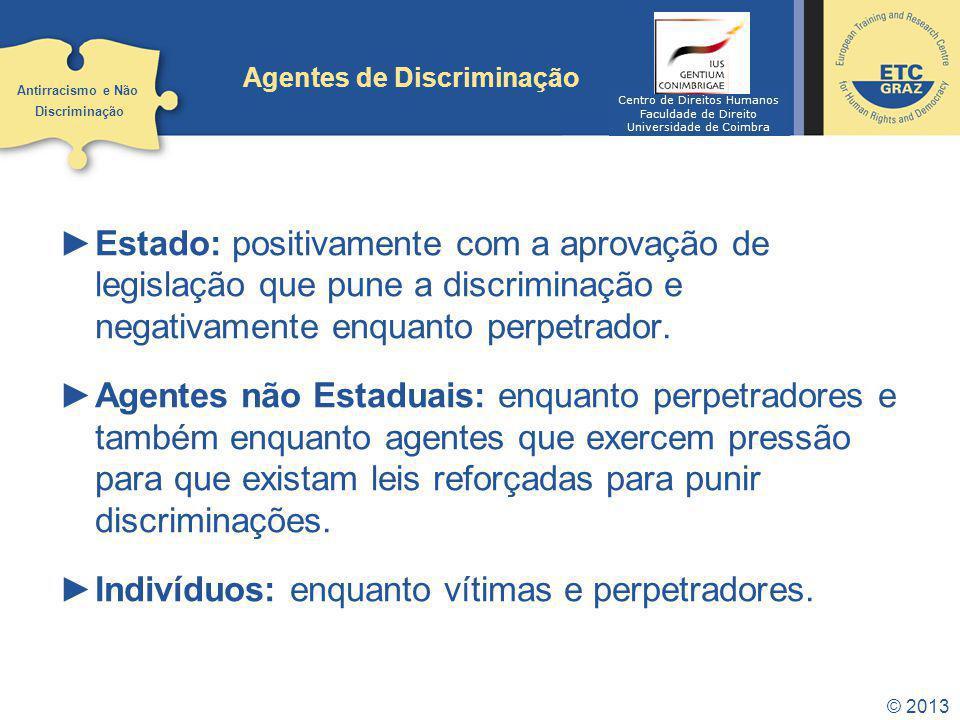 © 2013 Agentes de Discriminação Estado: positivamente com a aprovação de legislação que pune a discriminação e negativamente enquanto perpetrador. Age