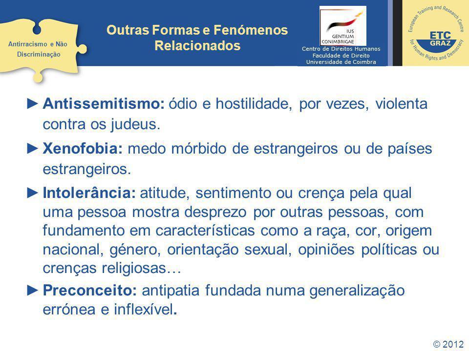 © 2012 Outras Formas e Fenómenos Relacionados Antissemitismo: ódio e hostilidade, por vezes, violenta contra os judeus. Xenofobia: medo mórbido de est