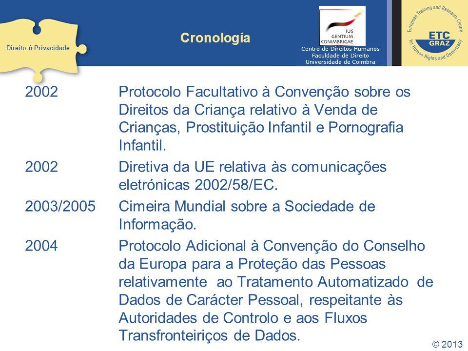 2002Protocolo Facultativo à Convenção sobre os Direitos da Criança relativo à Venda de Crianças, Prostituição Infantil e Pornografia Infantil. 2002Dir
