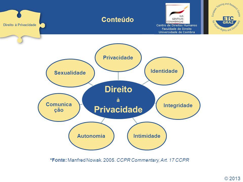 © 2013 Conteúdo Direito à Privacidade Direito à Privacidade IdentidadeIntegridade Intimidade Autonomia Comunica ção Sexualidade *Fonte: Manfred Nowak.