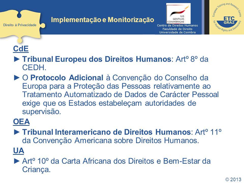 © 2013 Implementação e Monitorização CdE Tribunal Europeu dos Direitos Humanos: Artº 8º da CEDH. O Protocolo Adicional à Convenção do Conselho da Euro