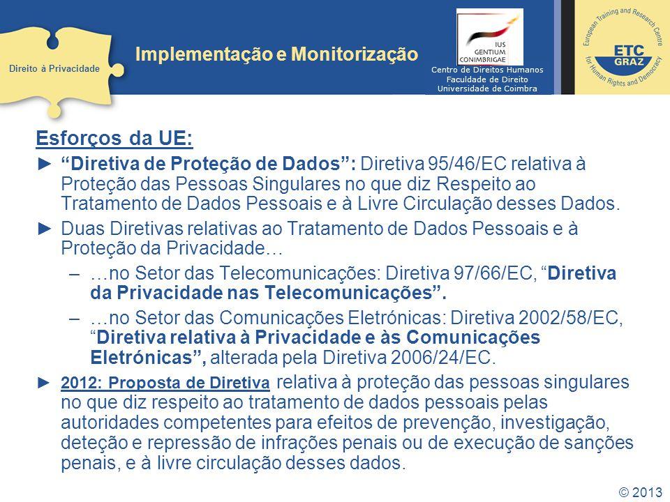 © 2013 Implementação e Monitorização Esforços da UE: Diretiva de Proteção de Dados: Diretiva 95/46/EC relativa à Proteção das Pessoas Singulares no qu
