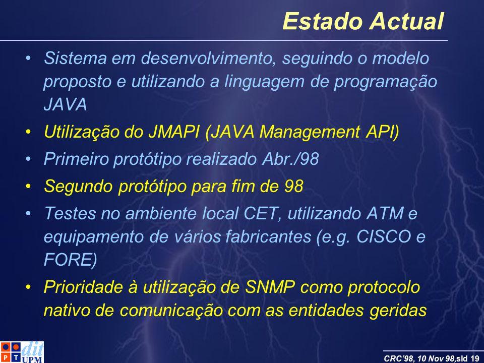 CRC98, 10 Nov 98,sld 19 Estado Actual Sistema em desenvolvimento, seguindo o modelo proposto e utilizando a linguagem de programação JAVA Utilização d