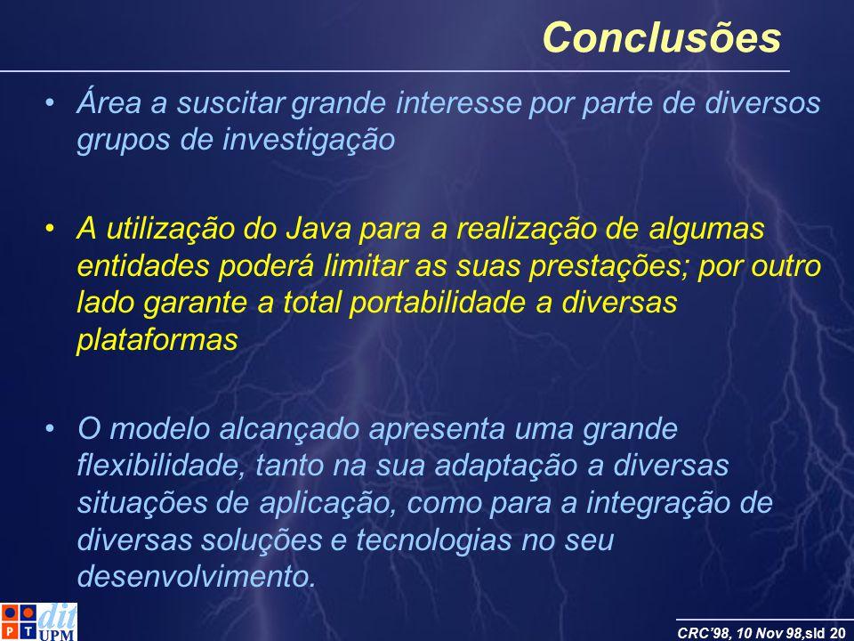 CRC98, 10 Nov 98,sld 20 Conclusões Área a suscitar grande interesse por parte de diversos grupos de investigação A utilização do Java para a realizaçã