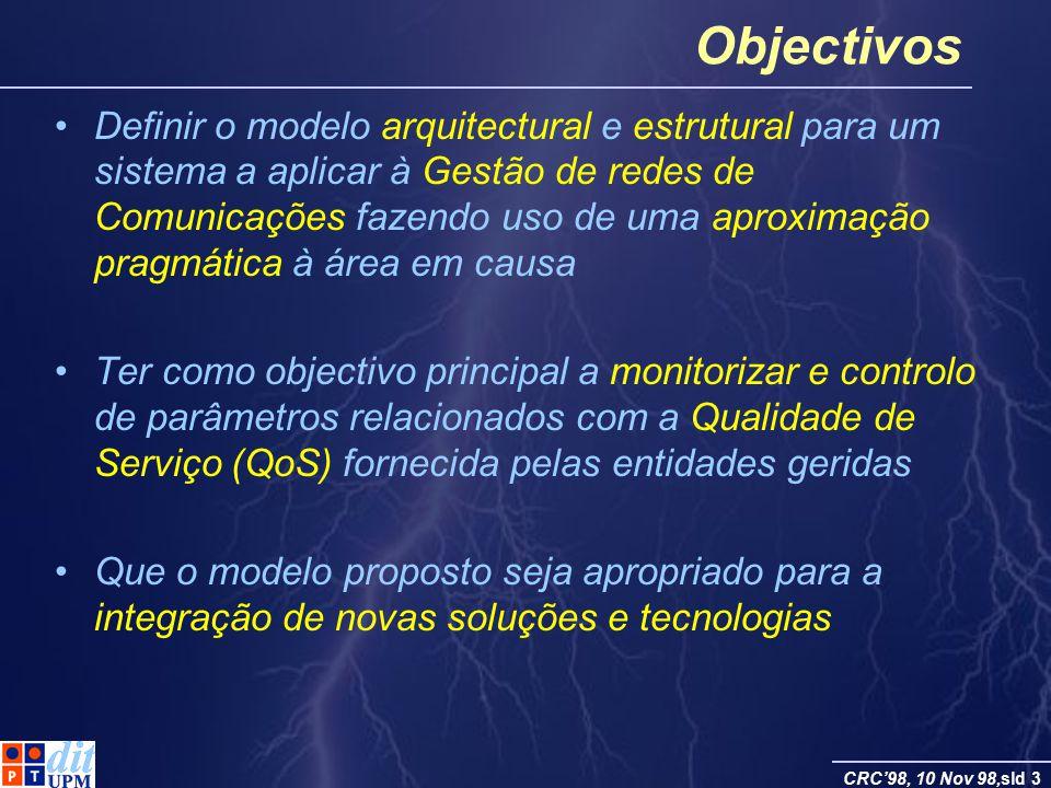 CRC98, 10 Nov 98,sld 3 Objectivos Definir o modelo arquitectural e estrutural para um sistema a aplicar à Gestão de redes de Comunicações fazendo uso