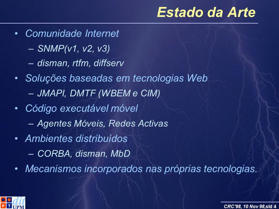 CRC98, 10 Nov 98,sld 4 Estado da Arte Comunidade Internet –SNMP(v1, v2, v3) –disman, rtfm, diffserv Soluções baseadas em tecnologias Web –JMAPI, DMTF