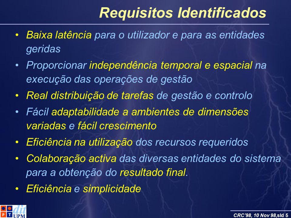 CRC98, 10 Nov 98,sld 5 Requisitos Identificados Baixa latência para o utilizador e para as entidades geridas Proporcionar independência temporal e esp