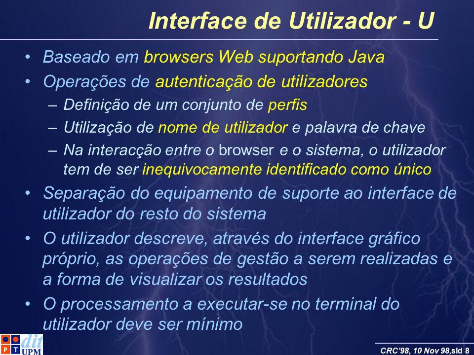 CRC98, 10 Nov 98,sld 8 Interface de Utilizador - U Baseado em browsers Web suportando Java Operações de autenticação de utilizadores –Definição de um