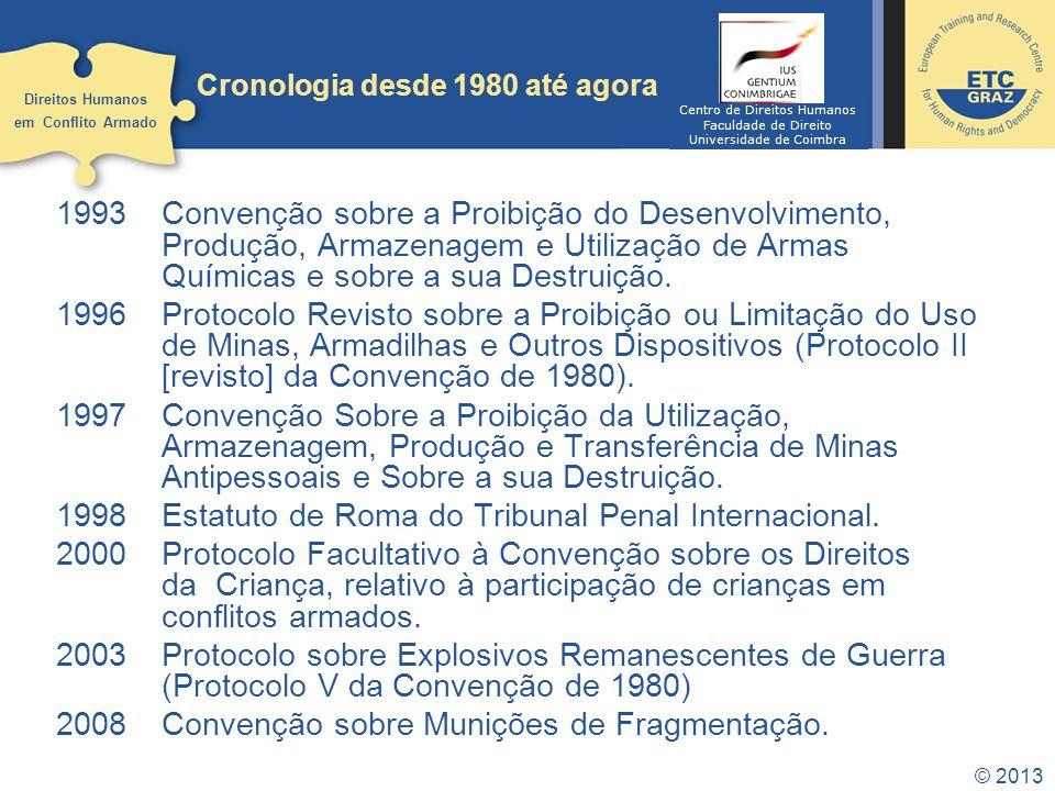 © 2013 Cronologia desde 1980 até agora 1993Convenção sobre a Proibição do Desenvolvimento, Produção, Armazenagem e Utilização de Armas Químicas e sobr