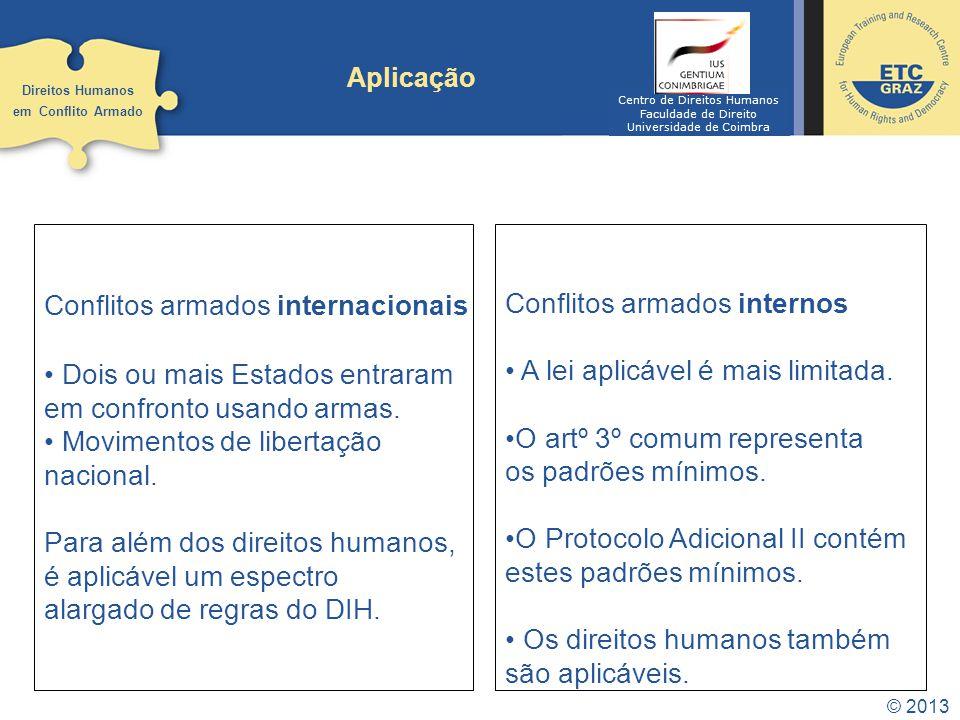 © 2013 Aplicação Direitos Humanos em Conflito Armado Conflitos armados internacionais Dois ou mais Estados entraram em confronto usando armas. Movimen
