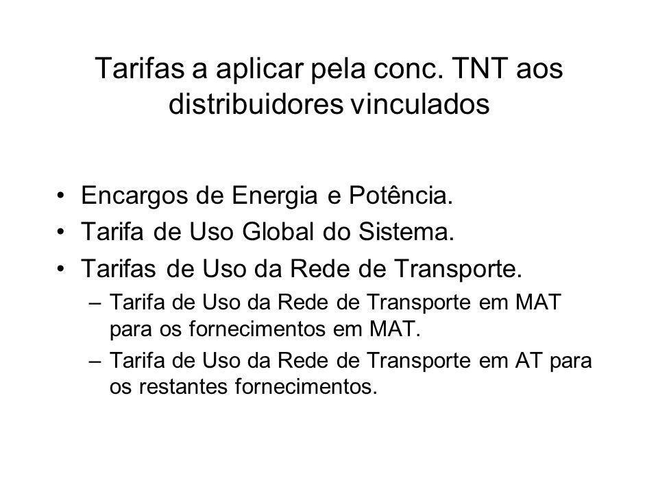 Tarifas a aplicar pela conc.TNT aos distribuidores vinculados Encargos de Energia e Potência.