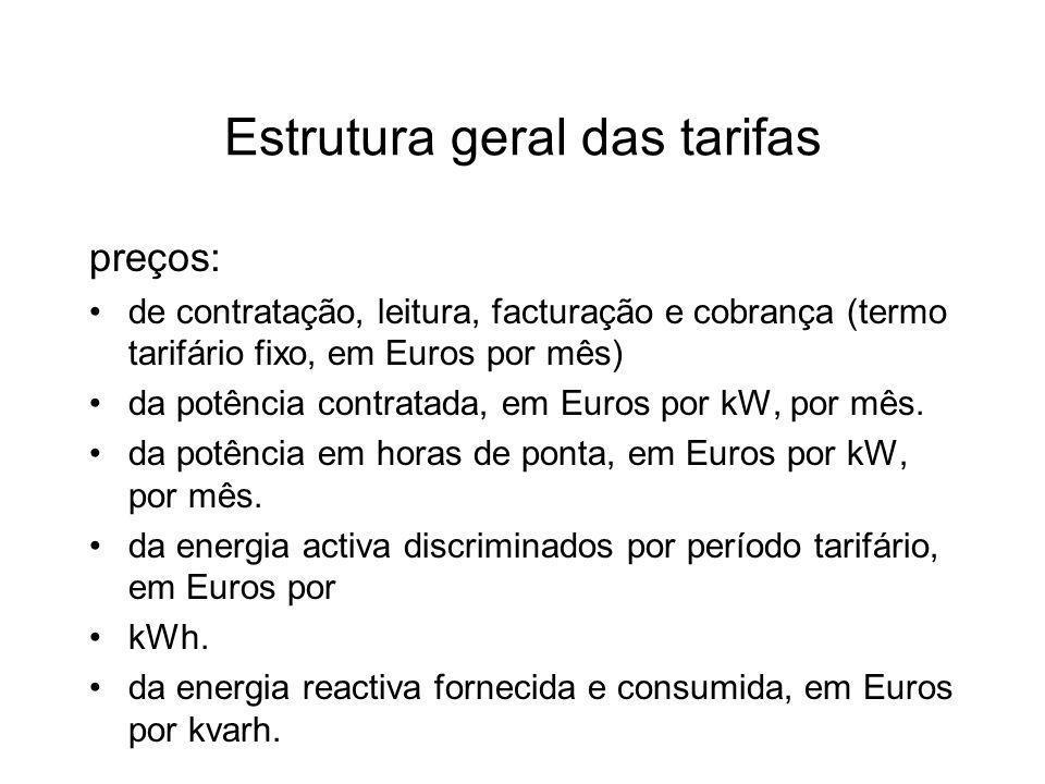 Estrutura geral das tarifas preços: de contratação, leitura, facturação e cobrança (termo tarifário fixo, em Euros por mês) da potência contratada, em Euros por kW, por mês.
