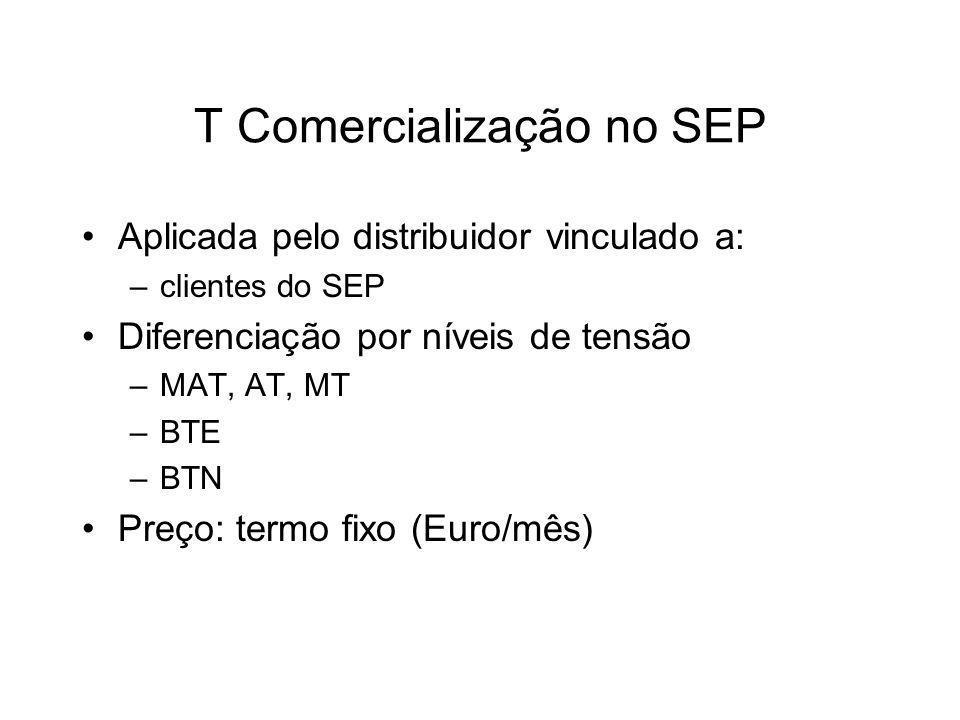 T Comercialização no SEP Aplicada pelo distribuidor vinculado a: –clientes do SEP Diferenciação por níveis de tensão –MAT, AT, MT –BTE –BTN Preço: termo fixo (Euro/mês)