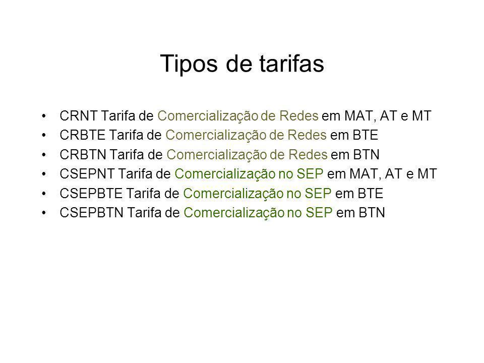 Tipos de tarifas CRNT Tarifa de Comercialização de Redes em MAT, AT e MT CRBTE Tarifa de Comercialização de Redes em BTE CRBTN Tarifa de Comercialização de Redes em BTN CSEPNT Tarifa de Comercialização no SEP em MAT, AT e MT CSEPBTE Tarifa de Comercialização no SEP em BTE CSEPBTN Tarifa de Comercialização no SEP em BTN
