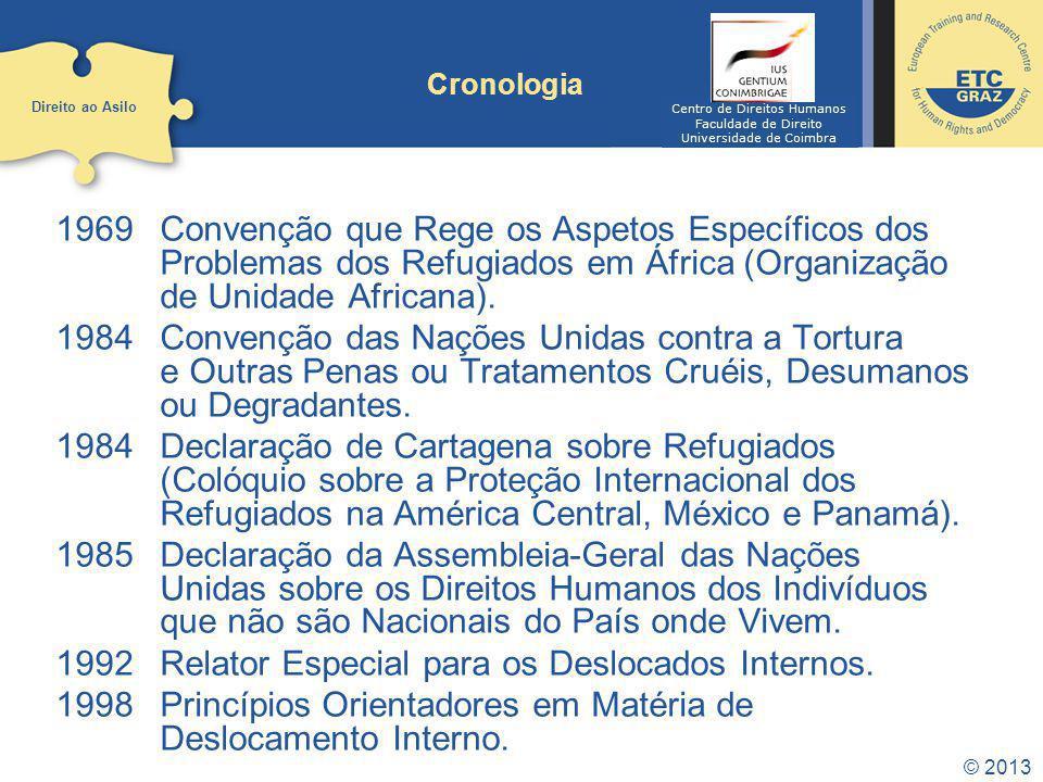 1969Convenção que Rege os Aspetos Específicos dos Problemas dos Refugiados em África (Organização de Unidade Africana). 1984Convenção das Nações Unida
