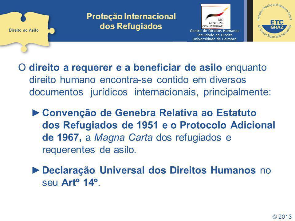 © 2013 Proteção Internacional dos Refugiados O direito a requerer e a beneficiar de asilo enquanto direito humano encontra-se contido em diversos docu