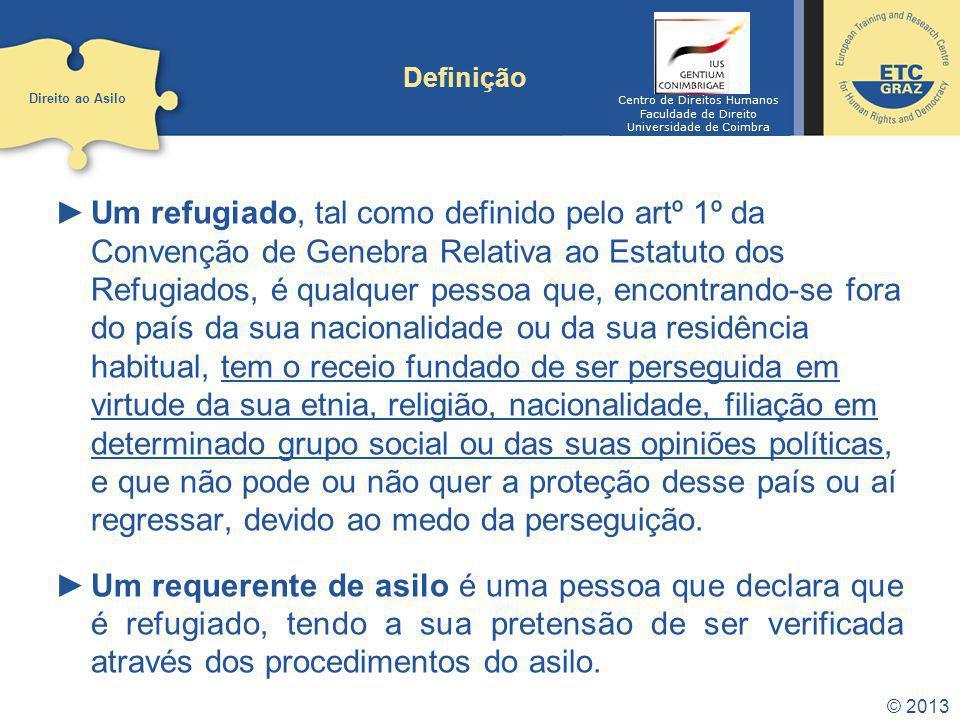 © 2013 Definição Um refugiado, tal como definido pelo artº 1º da Convenção de Genebra Relativa ao Estatuto dos Refugiados, é qualquer pessoa que, enco