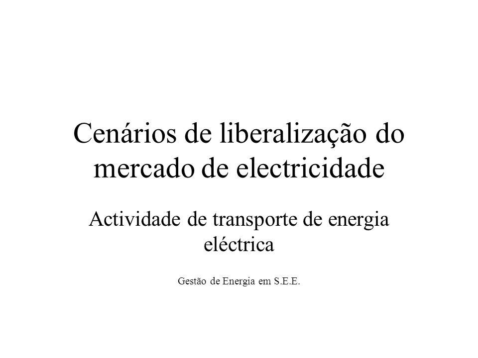 Cenários de liberalização do mercado de electricidade Actividade de transporte de energia eléctrica Gestão de Energia em S.E.E.