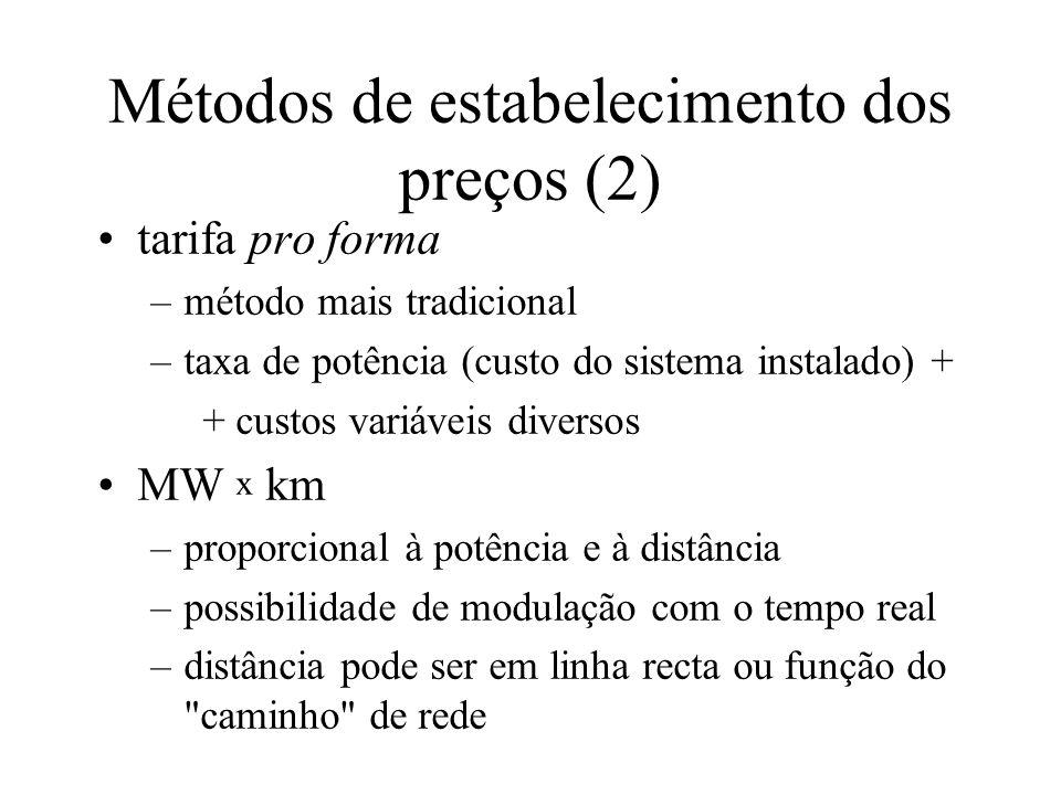 Métodos de estabelecimento dos preços (2) tarifa pro forma –método mais tradicional –taxa de potência (custo do sistema instalado) + + custos variáveis diversos MW x km –proporcional à potência e à distância –possibilidade de modulação com o tempo real –distância pode ser em linha recta ou função do caminho de rede