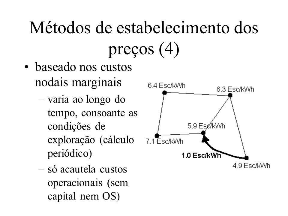 Métodos de estabelecimento dos preços (4) baseado nos custos nodais marginais –varia ao longo do tempo, consoante as condições de exploração (cálculo periódico) –só acautela custos operacionais (sem capital nem OS)