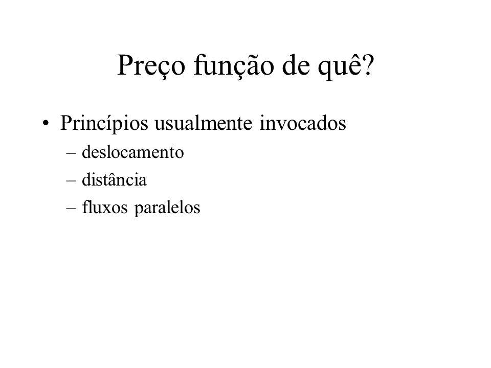 Preço função de quê Princípios usualmente invocados –deslocamento –distância –fluxos paralelos