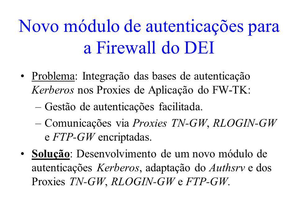 Novo módulo de autenticações para a Firewall do DEI Problema: Integração das bases de autenticação Kerberos nos Proxies de Aplicação do FW-TK: –Gestão