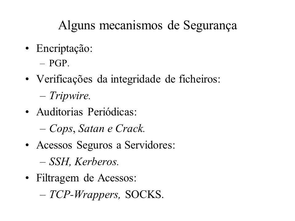 Alguns mecanismos de Segurança Encriptação: –PGP. Verificações da integridade de ficheiros: –Tripwire. Auditorias Periódicas: –Cops, Satan e Crack. Ac