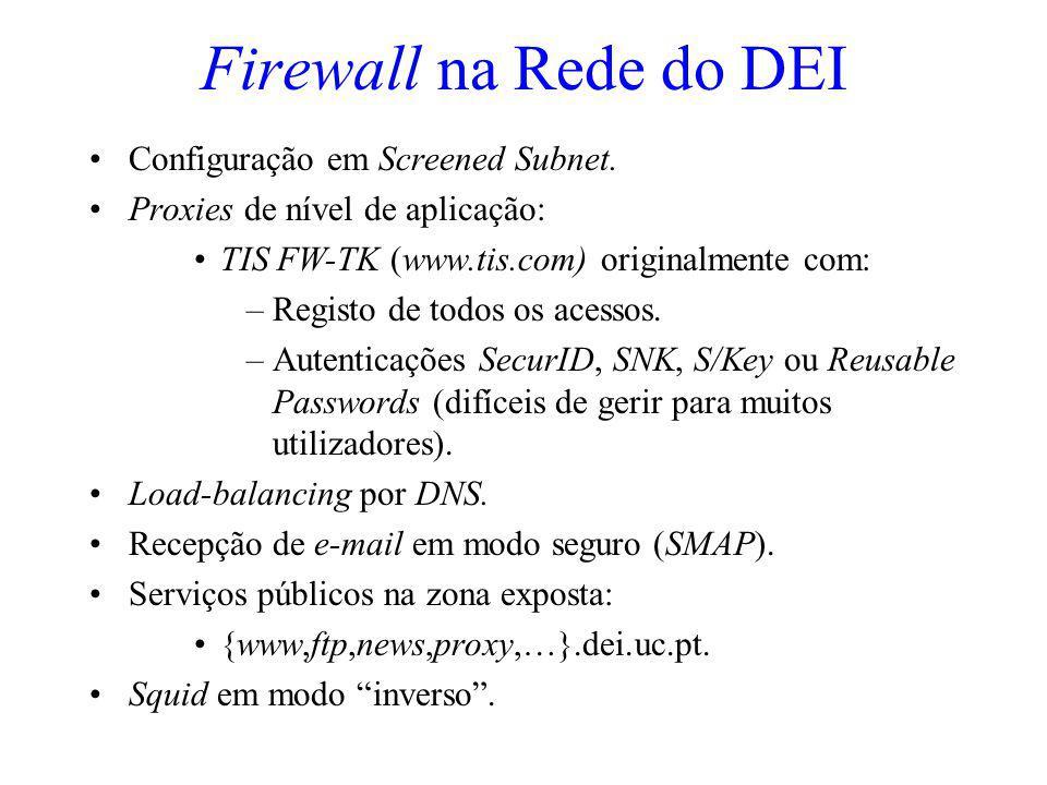 Firewall na Rede do DEI Configuração em Screened Subnet. Proxies de nível de aplicação: TIS FW-TK (www.tis.com) originalmente com: –Registo de todos o