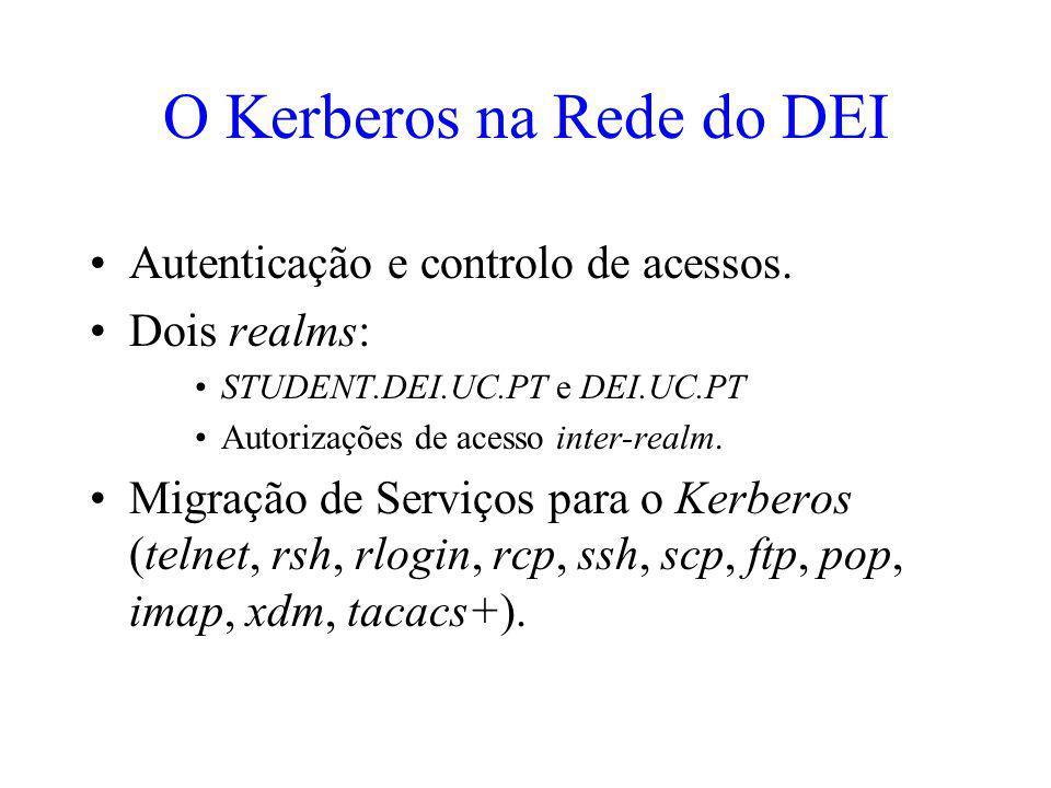 O Kerberos na Rede do DEI Autenticação e controlo de acessos. Dois realms: STUDENT.DEI.UC.PT e DEI.UC.PT Autorizações de acesso inter-realm. Migração