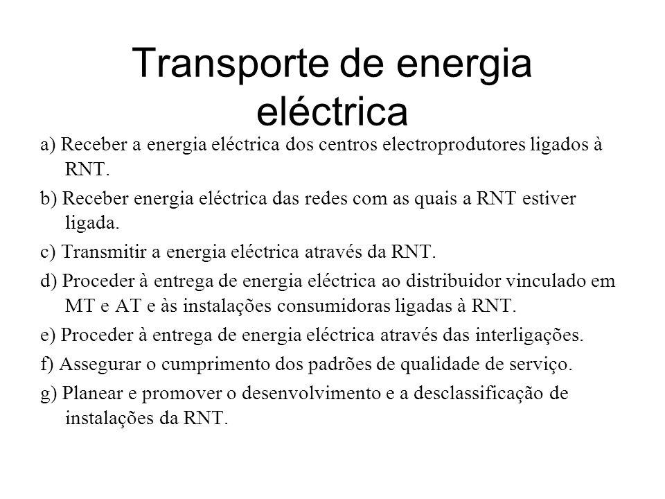 Transporte de energia eléctrica a) Receber a energia eléctrica dos centros electroprodutores ligados à RNT. b) Receber energia eléctrica das redes com