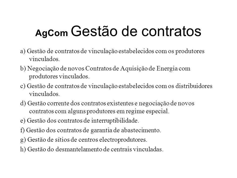 AgCom Gestão de contratos a) Gestão de contratos de vinculação estabelecidos com os produtores vinculados. b) Negociação de novos Contratos de Aquisiç