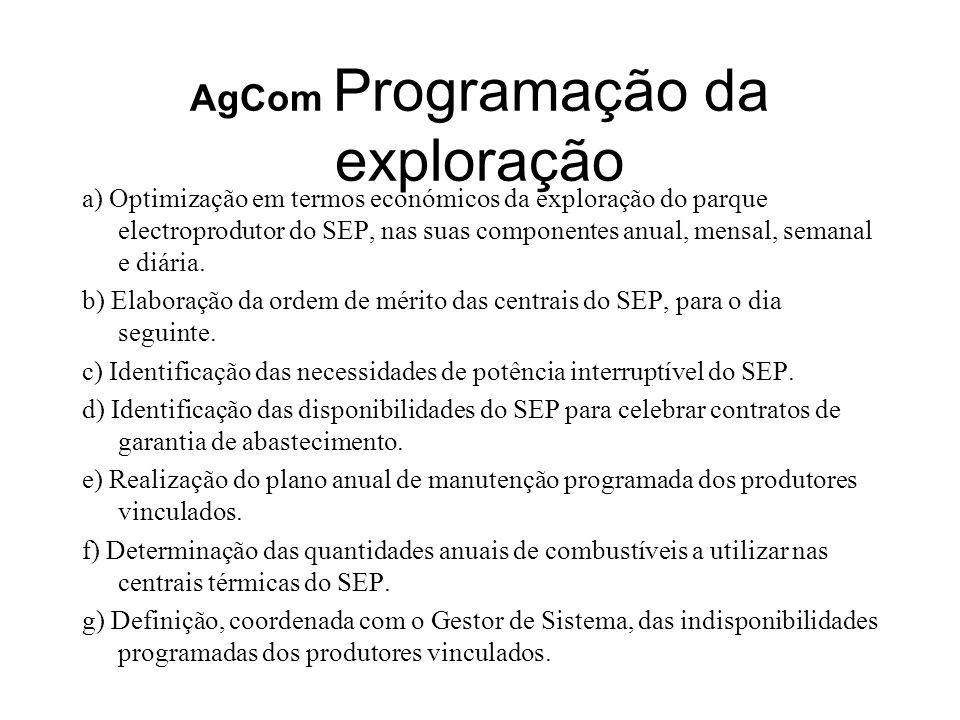 AgCom Programação da exploração a) Optimização em termos económicos da exploração do parque electroprodutor do SEP, nas suas componentes anual, mensal