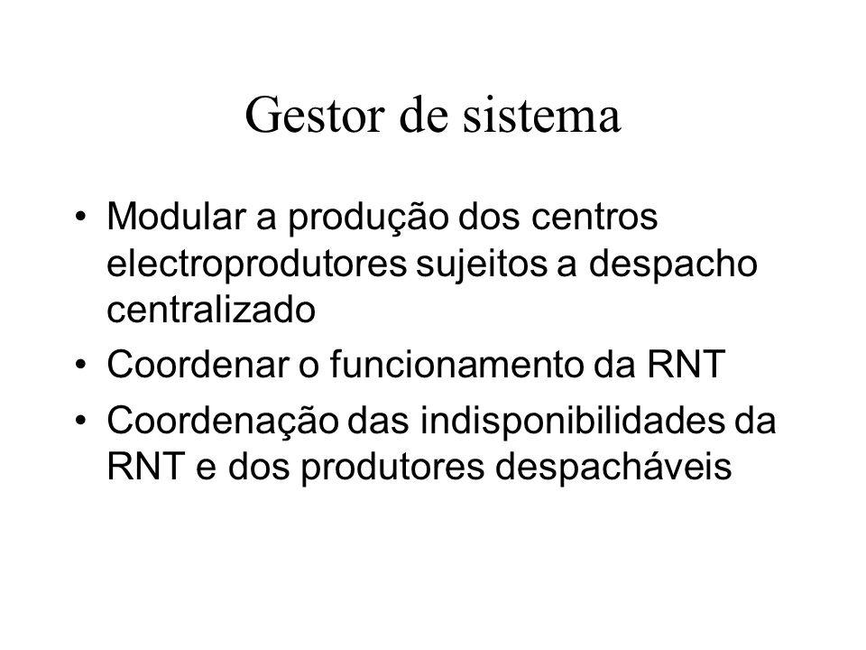 Gestor de sistema Modular a produção dos centros electroprodutores sujeitos a despacho centralizado Coordenar o funcionamento da RNT Coordenação das i