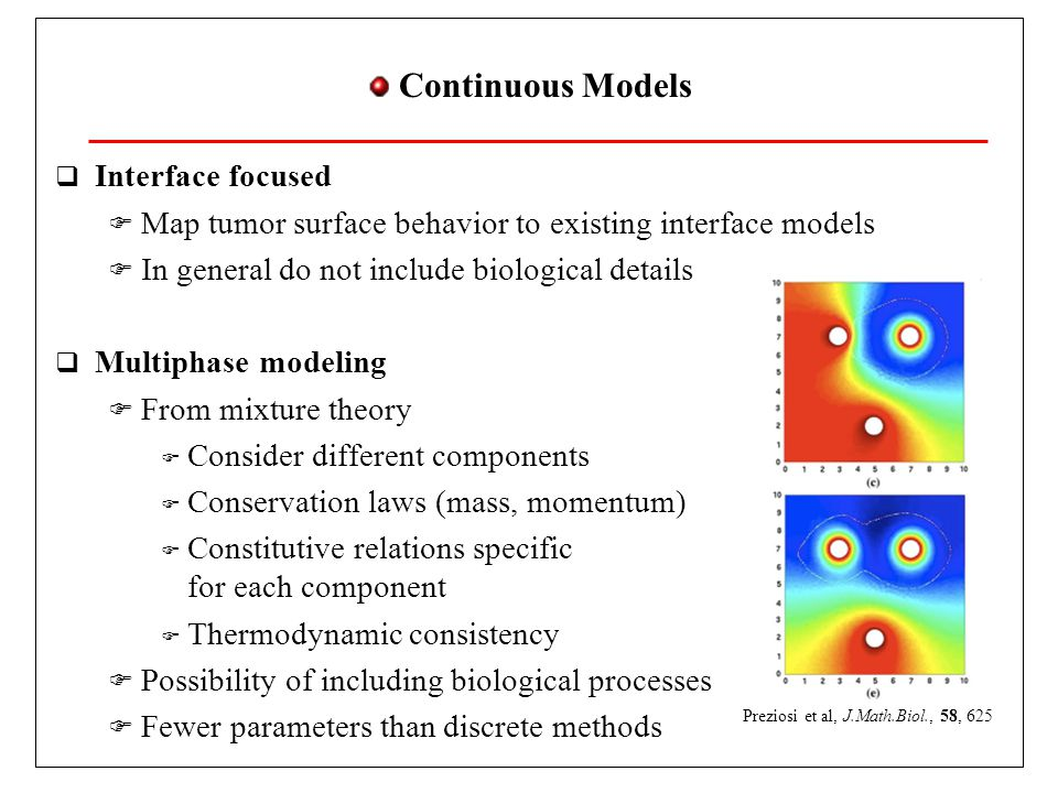 Continuous Models Interface focused Map tumor surface behavior to existing interface models In general do not include biological details Multiphase modeling From mixture theory Consider different components Conservation laws (mass, momentum) Constitutive relations specific for each component Thermodynamic consistency Possibility of including biological processes Fewer parameters than discrete methods Preziosi et al, J.Math.Biol., 58, 625
