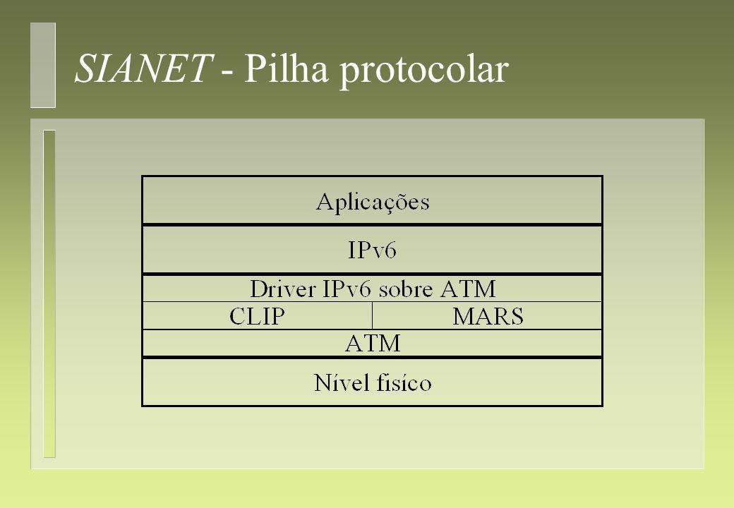 SIANET - Trabalho futuro 4 Tem uma estrutura modular, que permite uma fácil evolução; 4 Permitir o estudo de novos algoritmos; 4 Implementar mais medidores de performance; 4 Implementar mais aplicações Internet; 4 Implementar outras tecnologias de rede; 4 Implementar routers.