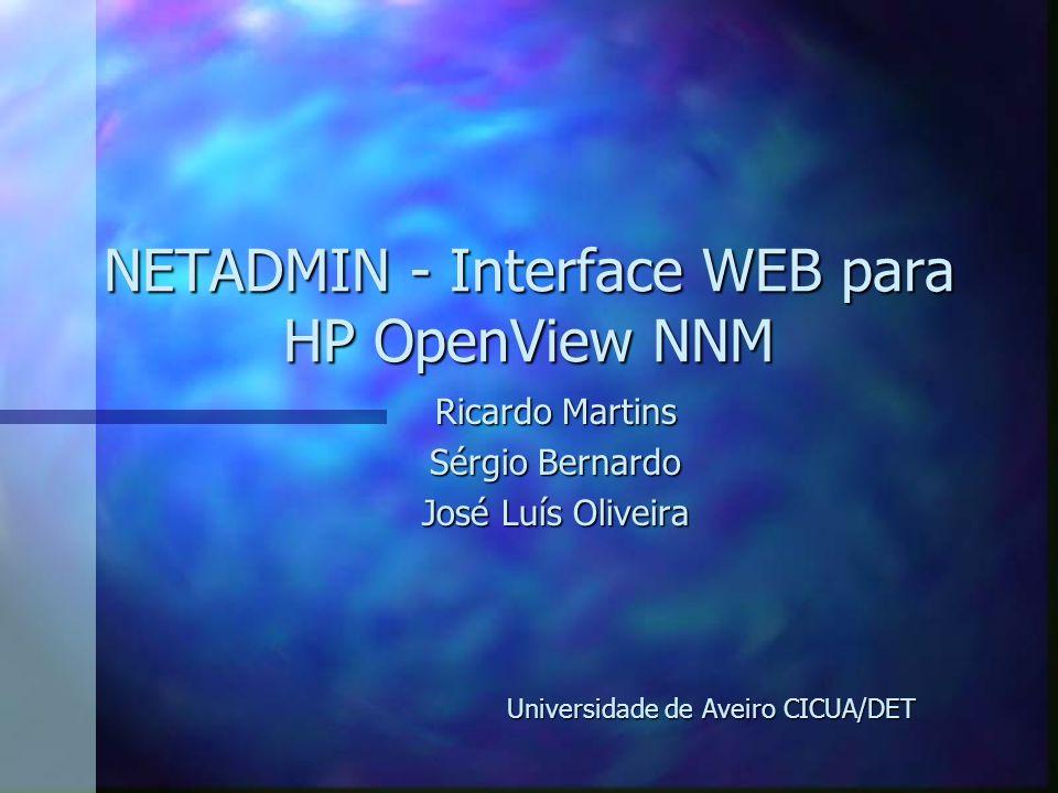 NETADMIN - Interface WEB para HP OpenView NNM Ricardo Martins Sérgio Bernardo José Luís Oliveira Universidade de Aveiro CICUA/DET