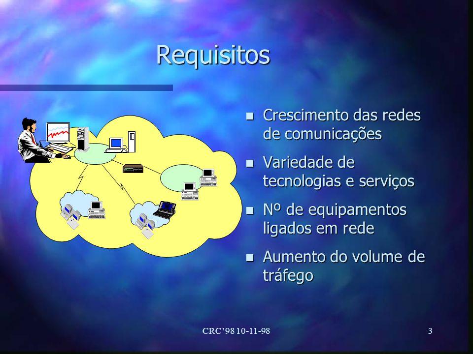 CRC98 10-11-983 Requisitos n Crescimento das redes de comunicações n Variedade de tecnologias e serviços n Nº de equipamentos ligados em rede n Aument