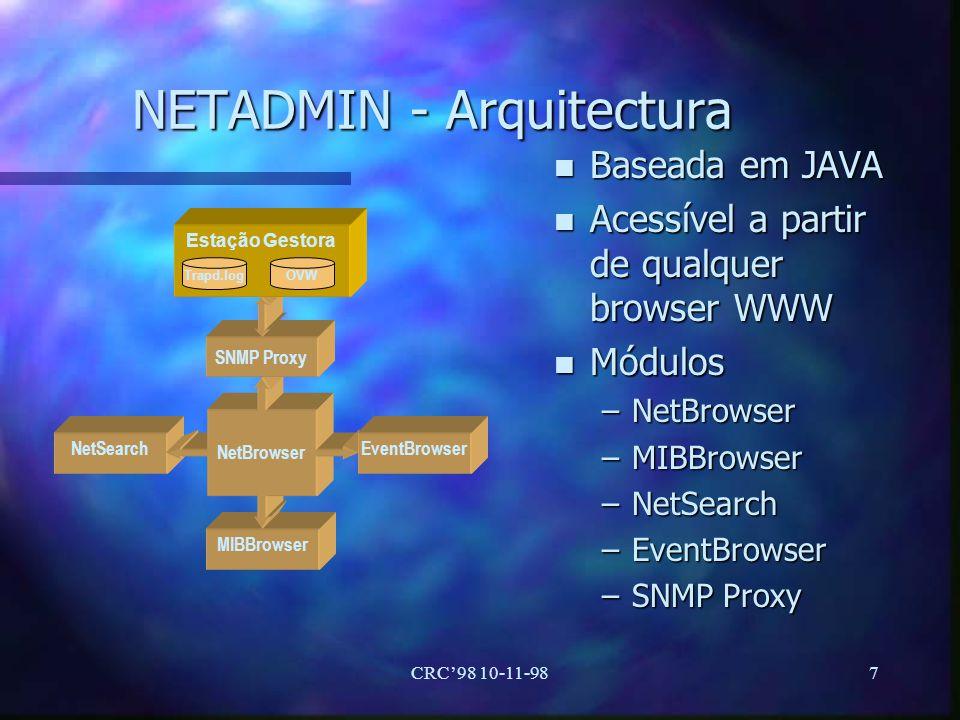 CRC98 10-11-988 NETADMIN - Interface WEB n Cliente é um browser de WWW n Autenticação perante o servidor HTTP n Utilização de um proxy SNMP n Estação Gestora n Processamento local da informação Cliente com um Browser de WWW Estação gestora MIB Aplicação de Gestão (HP OpenView) Agente SNMP Rede WWW ServerSNMP Proxy Classes Servidor HTTP