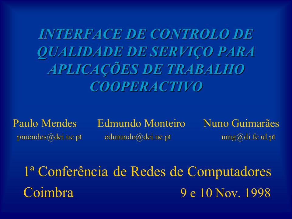 INTERFACE DE CONTROLO DE QUALIDADE DE SERVIÇO PARA APLICAÇÕES DE TRABALHO COOPERACTIVO 1ª Conferência de Redes de Computadores Coimbra 9 e 10 Nov.