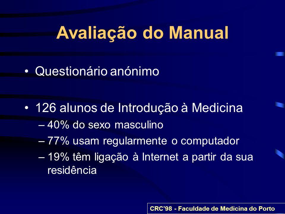 Avaliação do Manual Questionário anónimo 126 alunos de Introdução à Medicina –40% do sexo masculino –77% usam regularmente o computador –19% têm ligaç
