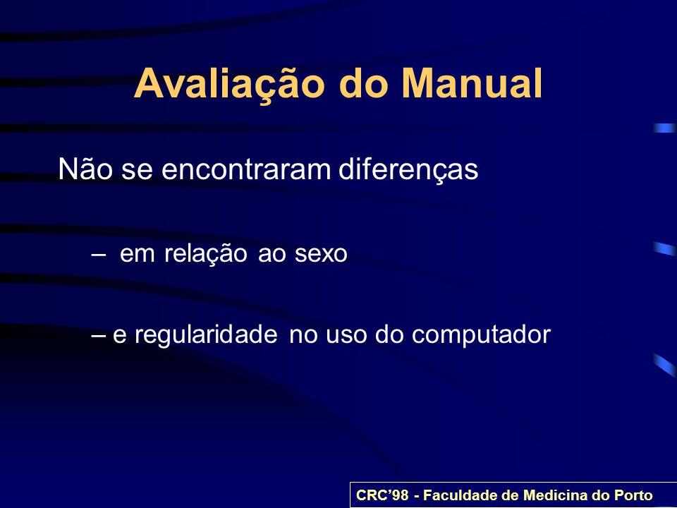 Avaliação do Manual Não se encontraram diferenças – em relação ao sexo –e regularidade no uso do computador CRC98 - Faculdade de Medicina do Porto