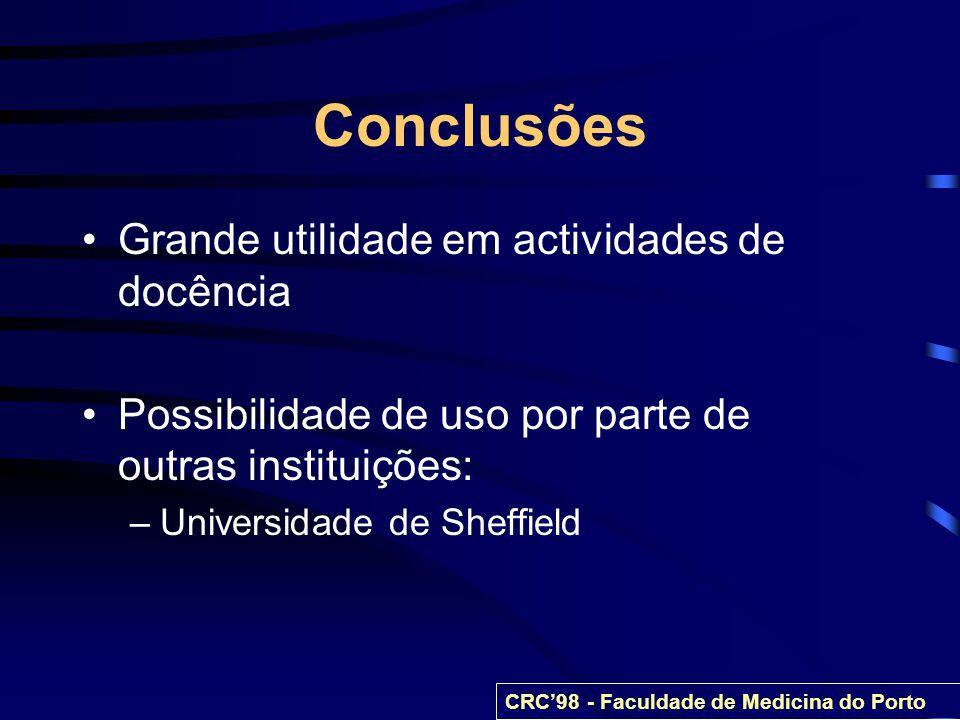 Conclusões Grande utilidade em actividades de docência Possibilidade de uso por parte de outras instituições: –Universidade de Sheffield CRC98 - Facul