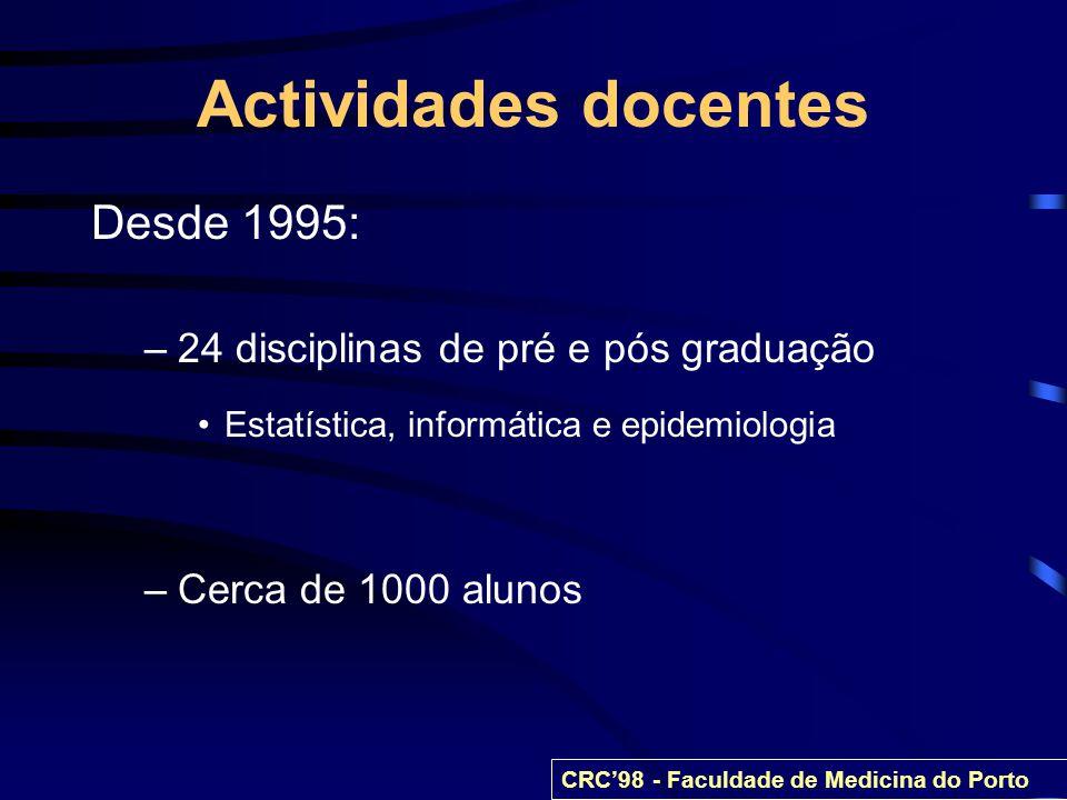 Actividades docentes Desde 1995: –24 disciplinas de pré e pós graduação Estatística, informática e epidemiologia –Cerca de 1000 alunos CRC98 - Faculda