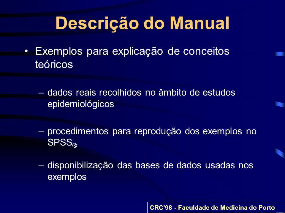 Descrição do Manual Exemplos para explicação de conceitos teóricos –dados reais recolhidos no âmbito de estudos epidemiológicos –procedimentos para re