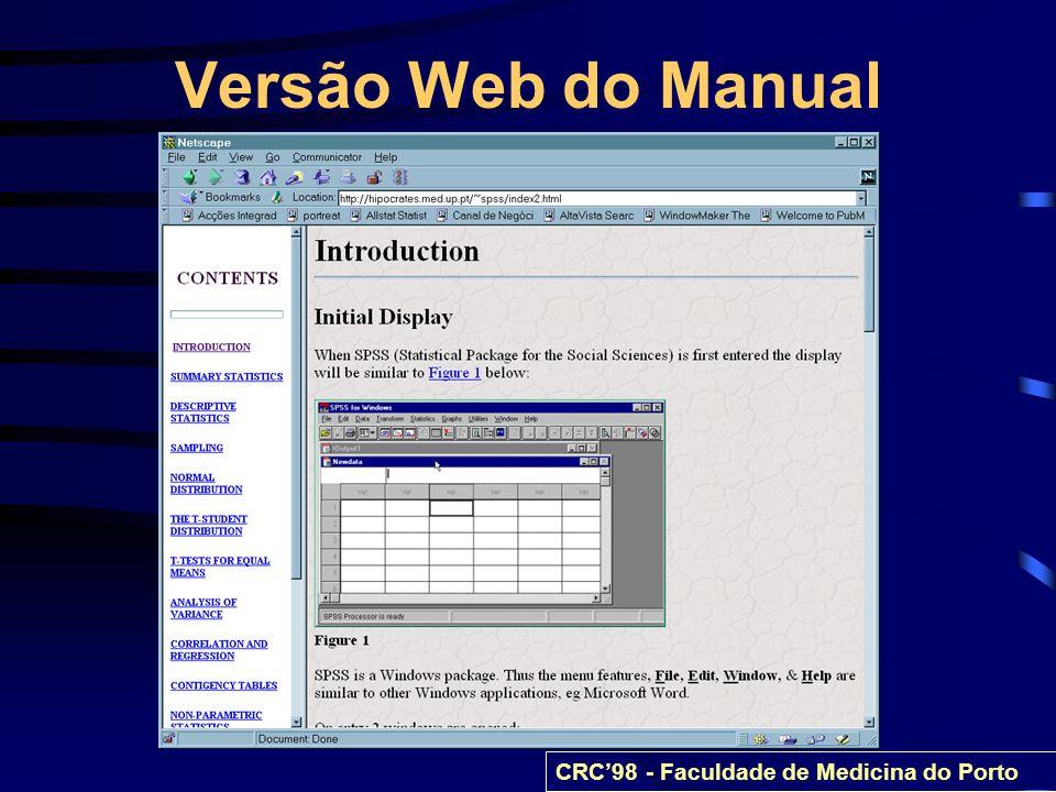 Versão Web do Manual CRC98 - Faculdade de Medicina do Porto