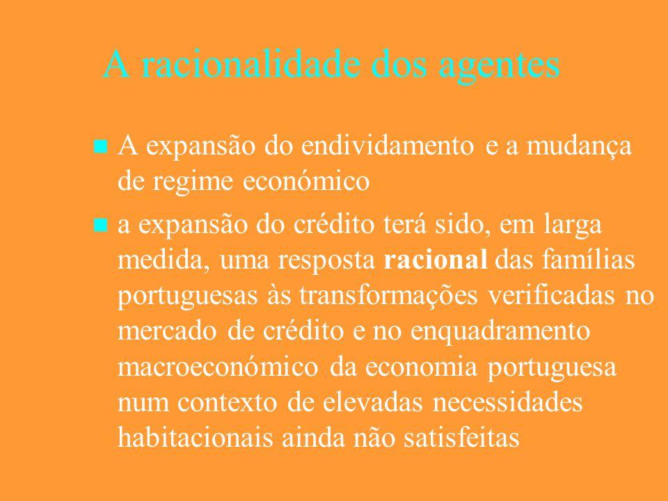 A racionalidade dos agentes A expansão do endividamento e a mudança de regime económico a expansão do crédito terá sido, em larga medida, uma resposta racional das famílias portuguesas às transformações verificadas no mercado de crédito e no enquadramento macroeconómico da economia portuguesa num contexto de elevadas necessidades habitacionais ainda não satisfeitas