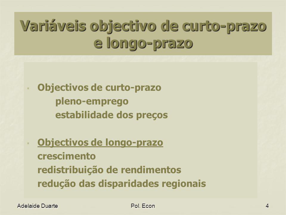 Adelaide DuartePol. Econ4 Variáveis objectivo de curto-prazo e longo-prazo Objectivos de curto-prazo pleno-emprego estabilidade dos preços Objectivos