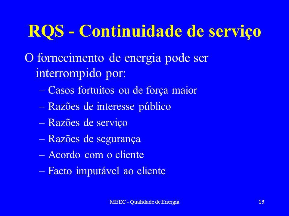 MEEC - Qualidade de Energia15 RQS - Continuidade de serviço O fornecimento de energia pode ser interrompido por: –Casos fortuitos ou de força maior –R